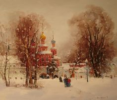 Russian Master: Bilyaev Roman http://www.russianfineart.com/catalog/prod.php?productid=24505  Novodevichiy Monastery - oil, canvas
