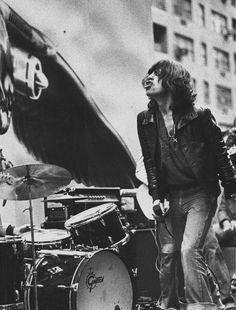 The Rolling Stones in New York City, May 1975 | rock n roll | perform | onstage | Mick Jagger | black & white | 1970s | iconic |