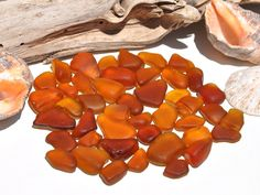 Orange Sea Glass Bits Amber Caramel Rare by BeachBountySeaGlass