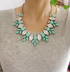 Rhinestone Crystal Necklace, turquoise Bubble Bib Statement Necklace, Cluster Chunky Necklace-20106
