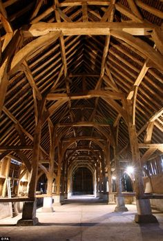 Grade I-listed Harmondsworth Barn, west London, joins the likes of Stonehenge, Osborne House and parts of Hadrian's Wall in the national collection of historic sites and monuments under the guardianship of English Heritage. Viking Hall, Vikings, Winchester College, Mead Hall, Viking House, Long House, Converted Barn, English Heritage, Stonehenge