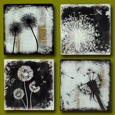 Dandelion Dreamin Set of Four 5, 6, 7  or 8 Square (You Choose!) Handmade Glass and Wood Wall Blox from Upcycled Dictionary page book art - WilD WorDz  Contemporary and Unique , this SET of Four 5, 6, 7  or 8 Square (You Choose!) flat glass Wall Blox is decoupaged with TzaddiHome exclusive