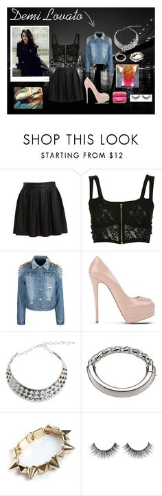 """Demi Lovato"" by erin-32 ❤ liked on Polyvore featuring Bardot, Miss Selfridge, Giuseppe Zanotti, Christofle, Boohoo, skater skirts, studded jackets, pink lips, chunky heels and studded bracelets"