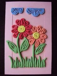 Аппликация из пластилина. Картина цветок