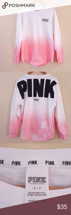Pink Crew Ombre Pink Bleach Dyed Long Sleeve Pink Crew Ombre Pink Bleach Dyed Long Sleeve  Brand new never worn Bleached on purpose Size S 100% cotton  * summer * spring * victorias secret * campus * bright * girly*   BBC INVENTORY.HH? PINK Victoria's Secret Tops