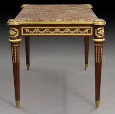 Louis XVI style bronze mounted marble top table, - Price Estimate: $10000 - $15000