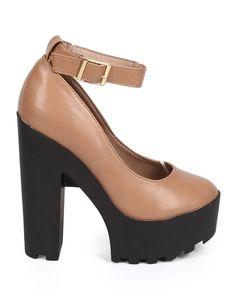 New-Women-Breckelles-Janice-01-Leatherette-Round-Toe-Lug-Sole-Platform-Pump-Size