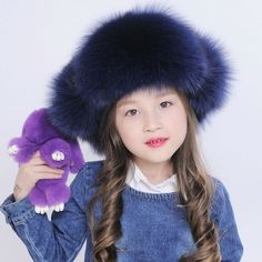 6b235cbd2a4 Children fur hat autumn winter cap for grils genuine fox fur Russian black  white earflap bomber
