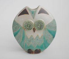 Owl vase handmade ceramic pottery turquoise seafoam by hbceramics, £25.00    <3