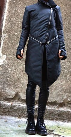 Etsy. NEW Winter Warm Asymmetric Extravagant Black Coat / Waterproof Windproof Quilted Detachable Coat by Aakasha A07149