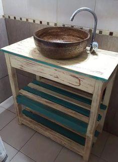 combo vanitory de madera + bacha rustica circular a tu color