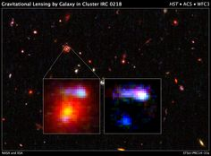 The farthest cosmic lens yet found, a massive elliptical galaxy, is shown in the inset image at left. The galaxy existed 9.6 billion years ago and belongs to the galaxy cluster, IRC 0218.