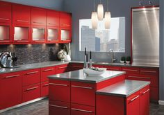Red Cabinets Also Red Island On The Bottom Of Grey Countertop In Contemporary Kitchen Remodel Design - Best Kitchen Design Home Depot Kitchen, Red Kitchen Decor, Kitchen Cabinet Colors, Shabby Chic Kitchen, Kitchen Layout, Kitchen Decorations, Gloss Kitchen, Kitchen Ideas Red, Kitchen Drawers