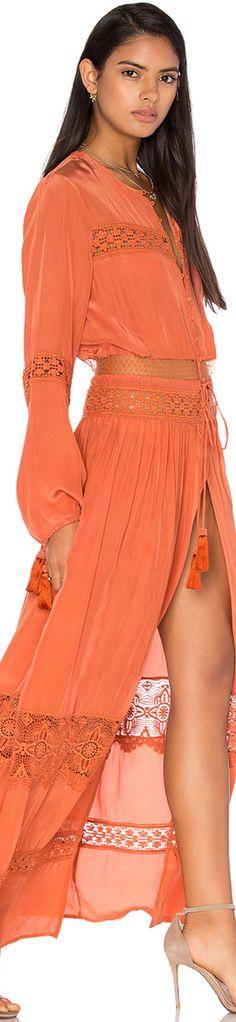 TESSORA Cut Out Lace Maxi Dress in Rust