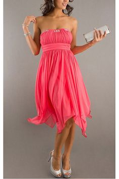Classical Pink A-line Chiffon Natural Cocktail Dresses