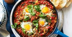 Cozy Chickpea and Egg Skillet with Shakshuka Spices and Feta Cheese Lentil Recipes, Egg Recipes, Kitchen Recipes, Cooking Recipes, Recipies, Vegetarian Dinners, Vegetarian Recipes, Healthy Recipes, Ketogenic Recipes