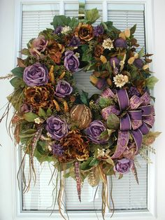Fall Wreath Elegant All Year Wreath Peonies Roses Purple Floral Hanging Decoration Bark Ball Fireplace Wreath Grapevine Front Door Wreath