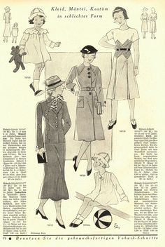 Mode und Wäsche 1934/35 heft 12. Model 76716: 2-4y. Model 76717: 15-16y. Model 76719: 12-14y. Model 76718: 12-14y. PDF sewing patterns for these models available upon request, please contact me for more information.