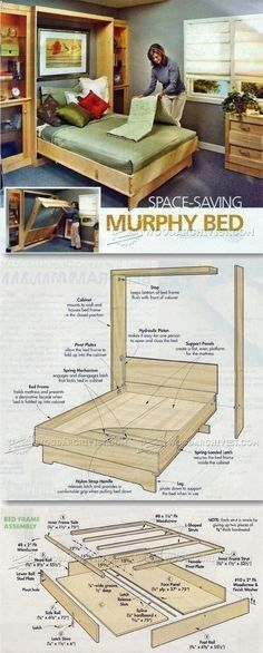 Murphy Bed Plans - Furniture Plans and Projects | WoodArchivist.comhttp://woodarchivist.com/2932-murphy-bed-plans/ #furnitureplans