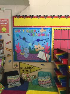 Finding Nemo Library Bulletin Board - planning on using the big blue dots to…