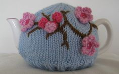 tea cosy cherry blossoms, by Bostonwitch Tea Cozy, Coffee Cozy, Free Knitting, Knitting Patterns, Tea Cosy Pattern, Knitted Tea Cosies, Tea Blog, China Tea Sets, Yarn Bombing