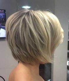 short hair-short hair cuts for women-short hair styles-short hair cuts- blonde- balayage- dark root- babylights- hand painted- short bob- bob hair cut- Layered Bob Short, Short Layered Haircuts, Short Hair With Layers, Short Bob Hairstyles, Cool Hairstyles, Hairstyles Haircuts, Stacked Haircuts, Hairstyle Ideas, Hairstyle Short