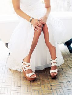 Should I do white wedges or turquoise? Sweet Style, Style Me, Maui Weddings, Destination Weddings, Bridal Wedding Shoes, Wedding Hands, White Wedges, Girls Dream, Cute Fashion