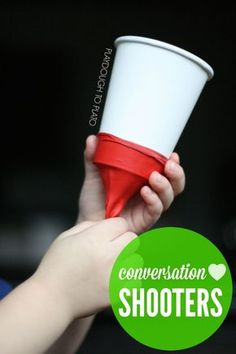 Make conversation heart shooters for kids. Sounds great for fine motor and hand/eye coordination!