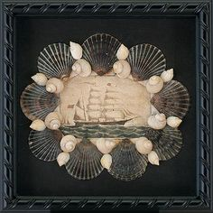 Seashell & Decoupage Shadowbox by Cynthia Rief   Seashell & decopupage shadowbox with whaleship at sea and Nantucket Scallop Shells