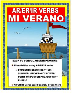 This interactive Back to School Lesson will allow you to have a fun project with your class. The lesson was to introduce AR/ER/IR verbs and…