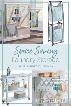 Simplify your laundry room by adding drying racks, storage and ironing carts. These space-saving products make doing the laundry easier and are great for homes or apartments! Laundry Room Organization, Laundry Room Design, Laundry Storage, Organization Ideas, Interior Design Living Room, Living Room Designs, Laundry Solutions, Storage Solutions, Laundry Closet