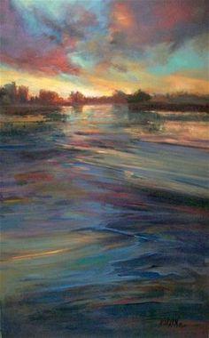 """Sunset Over Water"" - Original Fine Art for Sale - © Mary Maxam"