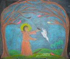 Age 08 ~ Saint Stories ~ Saint Francis and the Birds ~ chalkboard drawing