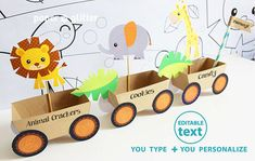 Animal Jungle Train Party Favor Box Truck Paper por paperglitter