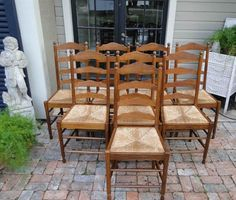8 Antique French Ladder back Oak DINING CHAIRS Farm House Rush Seats Oak Quality #FrenchCountryProvincial #Craftsmenofthatera