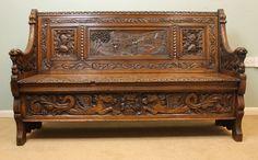 "Antique Victorian Oak Settle Height 36 1/2"" Width 60 1/2"" Depth 19 1/2"""