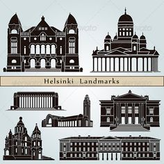 Buy Helsinki Landmarks and Monuments by paulrommer on GraphicRiver. Helsinki landmarks and monuments isolated on blue background in editable vector file Building Illustration, Skyline Silhouette, Thousand Islands, Window Design, Best Cities, Helsinki, Blue Backgrounds, Vector Design, Taj Mahal