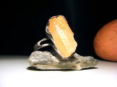 Orange Ring  Orange Raw Calcite Ring  Raw Gemstone by AMWatelier, $45.00