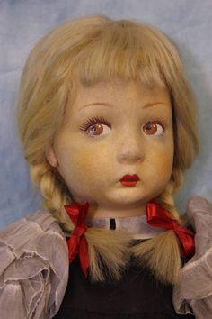 "18""  Rare size Lenci Henretta Doll original dress and mohair wig in Braids 1935"