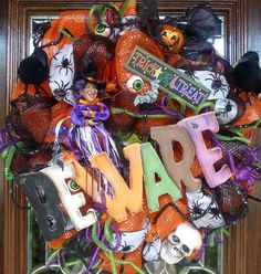 BEWARE HALLOWEEN WREATH by decoglitz on Etsy