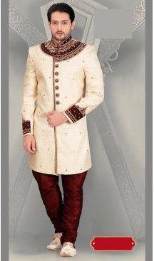 Cream Color Jacquard Ethnic Wear Mens Short Sherwani | FH446570281 #sherwani, #wedding, #mens, #fashion, #boutique, #indowestern, #kurta, #pajama, #turban, #safa, #heenastyle, #man, @heenastyle , #indian, #clothing, #style, #henna, #ethnic, #wear, #royal, #readymade