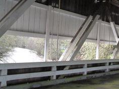 Crawfordsville Bridge inside overlooking the water.