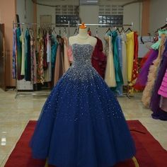 Sparkly Beaded Strapless Navy Blue Ball Gowns Prom
