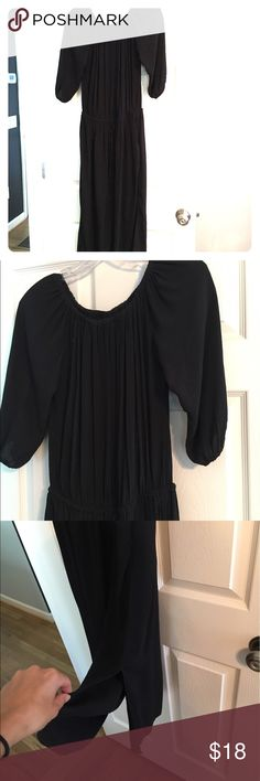 Off-the-shoulder Midi Dress From the trendy collab of Who What Wear for Target - this super comfy black rayon frock can be dressed up or down. Drawstring waist is very forgiving. Side slits elongate legs. Great for summer and later on as a layering piece Who What Wear Dresses Midi