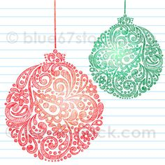 Hand-Drawn Abstract Henna Paisley Sketchy Christmas Ornament Doodle Drawing Vector Illustration by blue67stock.com by blue67design, via Flickr