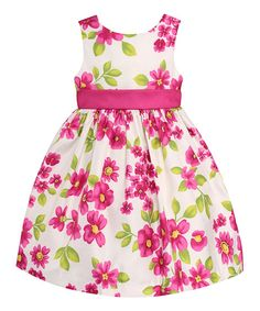 American Princess White & Fuchsia Floral Dress & Bloomers | zulily