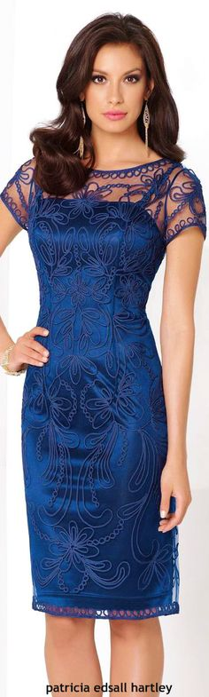 Mon Cheri blue dress women fashion outfit clothing style apparel @roressclothes closet ideas