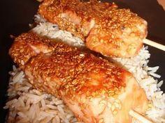 Brochettes de saumon, miel & sésame, Recette Ptitchef