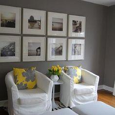 Yellow and Gray Bedroom, Transitional, bedroom, Benjamin Moore Galveston Gray