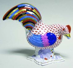 Herend Hand Painted Porcelain Standing Hen Figurine, Rust Fishnet Design Colorful Wings & Tail Feathers Gold Accents.
